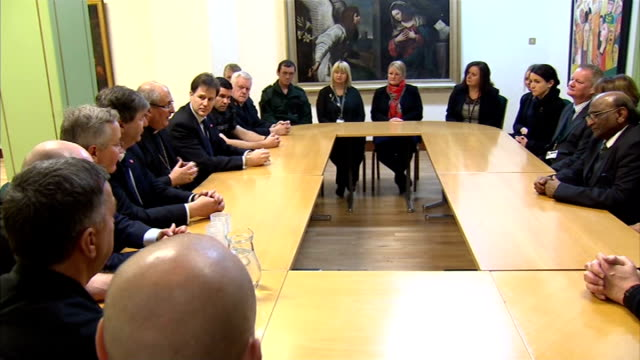 nick clegg attends glasgow police helicopter crash roundtable scotland glasgow general views of round table discussions with community leaders and... - round table discussion stock videos & royalty-free footage