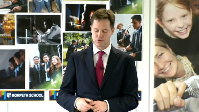 Nick Clegg calls for limits on Free Schools Speech ENGLAND London Tower Hamlets Morpeth School INT Nick Clegg MP speech SOT The fundamental reason...