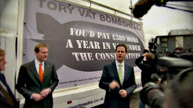 vídeos de stock, filmes e b-roll de nick clegg has promised voters light at the end of the tunnel within three years saying the liberal democrats are the only party promising to bring... - tunnel