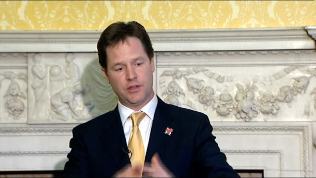 nick clegg hosts event for european liberal party leaders press conference clegg answer sot uk always been a principle supporter of the imf / imf... - plus key stock videos & royalty-free footage