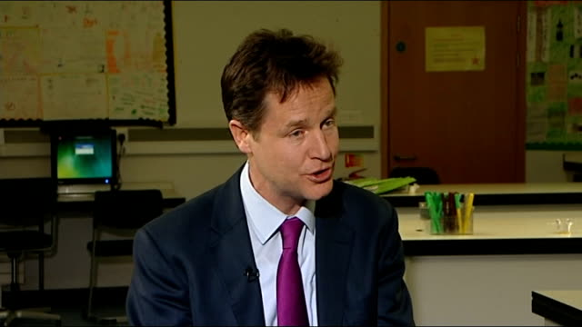 East London Bishop Challoner Catholic Collegiate School INT Nick Clegg MP interview SOT