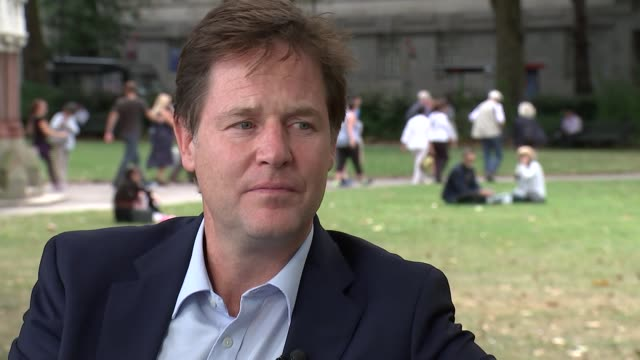 london westminster ext nick clegg mp along through park nick clegg mp interview sot re new book 'politics between the extremes' referendum outcome... - politics and government stock videos & royalty-free footage