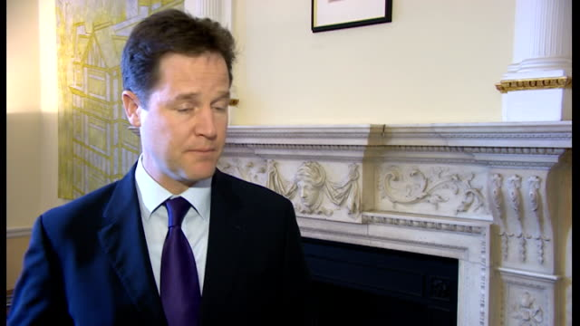nick clegg interview on chris huhne; england: london: int nick clegg mp interview sot - chris huhne has pleaded guilty this morning, and has... - クリス ヒューン点の映像素材/bロール