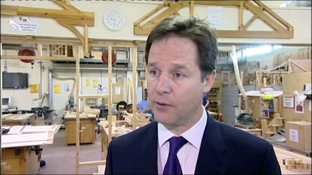 nick clegg interview on youth unemployment / meets student apprentices; clegg interview continues sot - on youth unemployment rising since 2004 / on... - altruismo video stock e b–roll