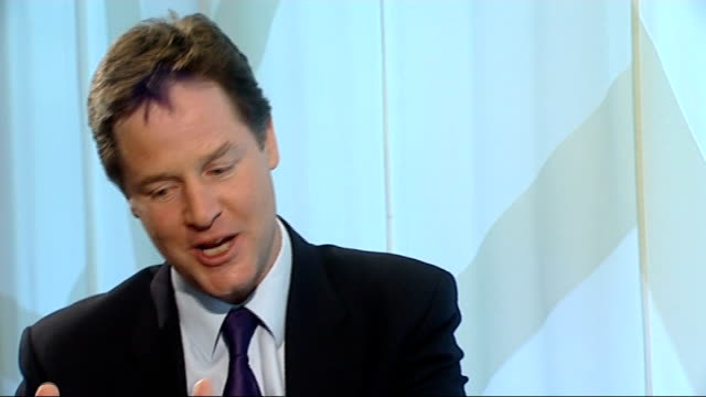 nick clegg launches commission on social mobility; england: london: int nick clegg mp interview sot - on his privileged background - my dad helped me... - hierarchy stock videos & royalty-free footage