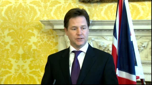 Nick Clegg meets Palestinian President Mahmoud Abbas press conference ENGLAND London Whitehall PHOTOGRAPHY ** Nick Clegg MP and Mahmoud Abbas...