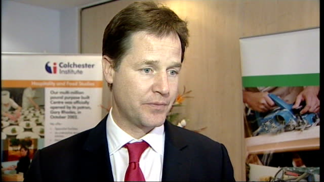 nick clegg meets trainee chefs in colchester and comments on youth unemployment clegg interview sot on huge expansion in number of apprenticeships... - unemployment application stock videos & royalty-free footage