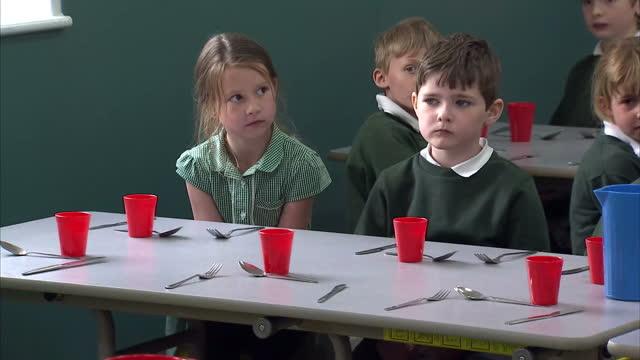 nick clegg & miriam durantez visit ivy lane school in chippenham. shows interior shots schoolchildren sat in dining hall as kitchen staff serve up... - チッペナム点の映像素材/bロール
