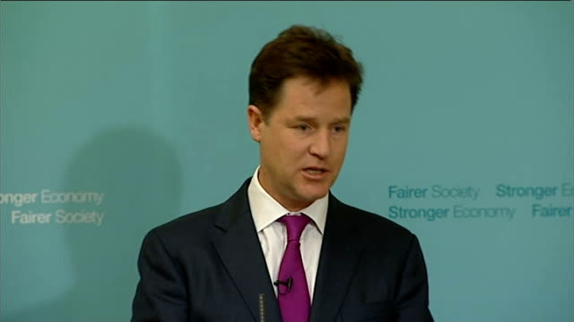 nick clegg monthly press conference; clegg answering questions sot - on tax breaks for married couples - on trident nuclear deterrent - on whether he... - 盗み聞き点の映像素材/bロール