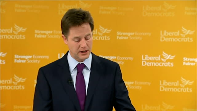 nick clegg monthly press conference england london int nick clegg mp arriving and speech sot time to start talking about liberal democrats 2015... - new age stock videos & royalty-free footage