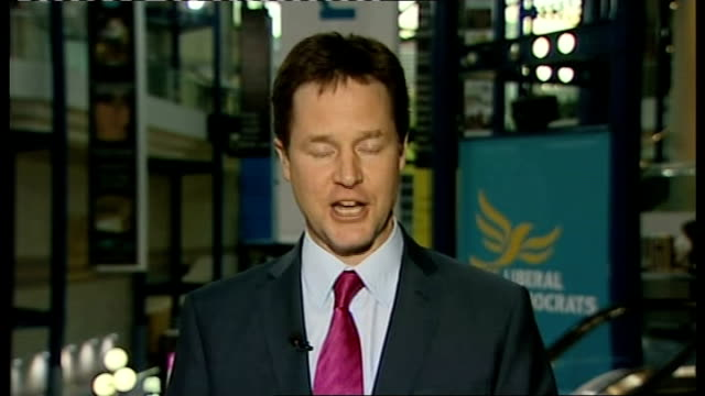 vídeos de stock, filmes e b-roll de nick clegg mp 2way interview from birmingham continues sot [asked what he will do if there is a hung parliament and david cameron doesn't agree to... - sadomasoquismo