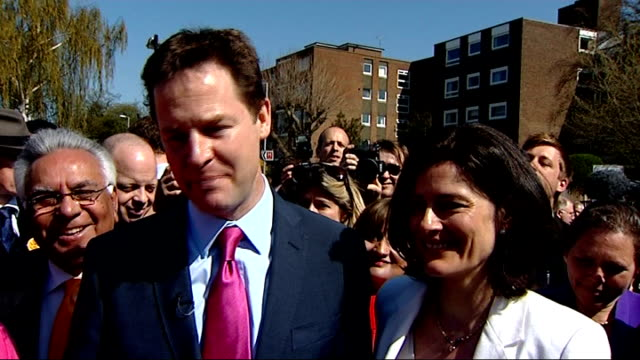 Nick Clegg MP interview as standing next to his wife SOT [asked if he could work with Gordon Brown] Look when you're in these debates you just answer...