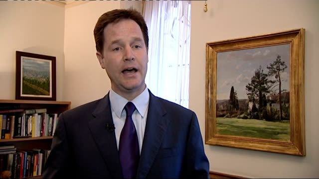 int nick clegg mp interview sot we've had some very constructive talks with the conservative party and i am very grateful to david cameron and his... - now open stock videos & royalty-free footage
