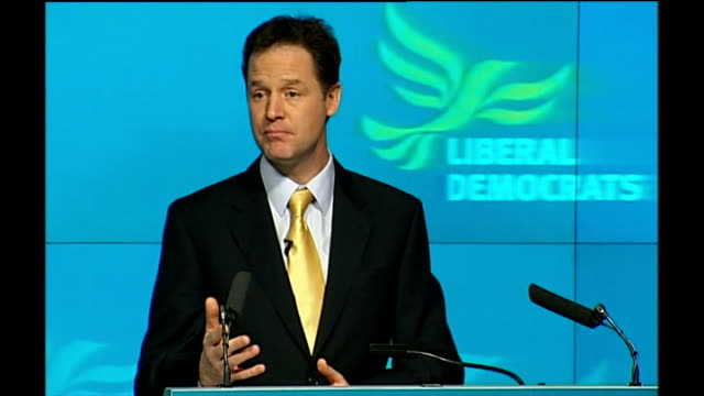 nick clegg mp speech sot the two other parties are conspiring to airbrush the recession out of this election labour so we don't blame them for the... - airbrush stock videos & royalty-free footage