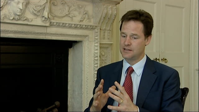 nick clegg outlines plans for electoral reform; england: london: int nick clegg mp interview sot - we are bringing two things together which is... - 改革論者点の映像素材/bロール