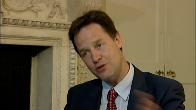nick clegg outlines plans for electoral reform; nick clegg mp interview sot - it is a preferential system / it is not a totally alien system, used... - jon snow journalist stock-videos und b-roll-filmmaterial