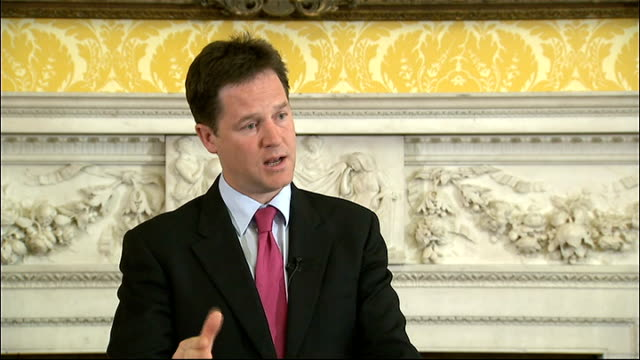 nick clegg press conference; clegg answering questions sot - on police jobs being cut - not possible to ring fence the police from financial... - bureaucracy stock videos & royalty-free footage
