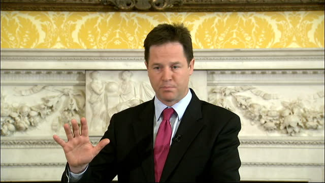 nick clegg press conference; clegg press conference sot - everybody agrees the current status quo isn't sustainable / things need to change / we want... - improvement stock videos & royalty-free footage