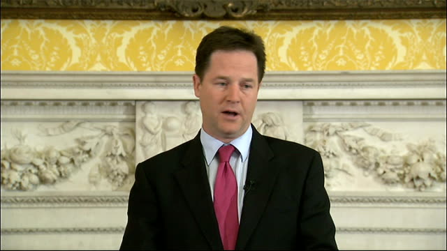 nick clegg press conference; england: london: downing street: int nick clegg mp press conference sot - on the news of the world phone hacking scandal... - conference phone stock videos & royalty-free footage