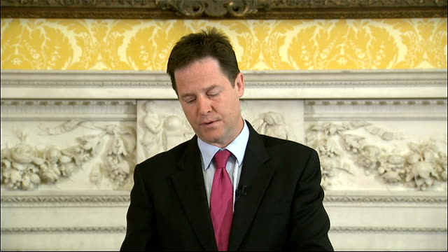 nick clegg press conference question and answer session clegg answering questions sot on who should bail out greece an issue for the eurozone / on... - david bond stock videos & royalty-free footage