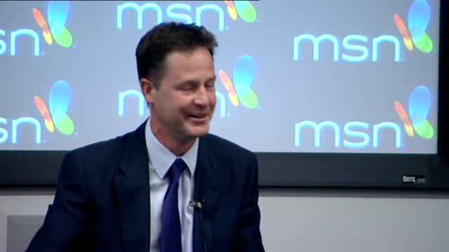 vidéos et rushes de nick clegg question and answer session; london: microsoft hq: int nick clegg mp speaking at question & answer session to invited audience sot - it's... - prime minister