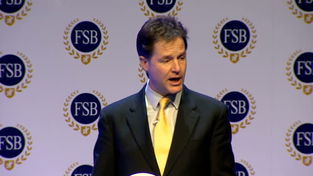 vidéos et rushes de nick clegg speech at fsb conference england west midlands birmingham int nick clegg mp along stage / nick clegg mp speech sot i want to thank the fsb... - turning on or off