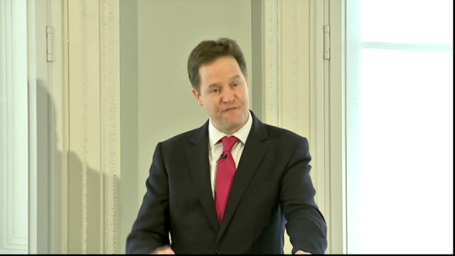stockvideo's en b-roll-footage met nick clegg speech at institute for government; clegg speech sot fives times as much. that comes from capping tax reliefs for very high earners,... - 40 seconds or greater
