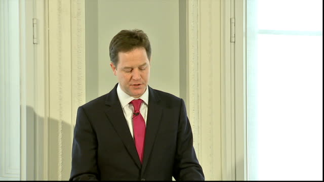 nick clegg speech at institute for government clegg speech sot not only did we raise the point at which ordinary workers begin paying income tax at... - politics and government stock videos & royalty-free footage