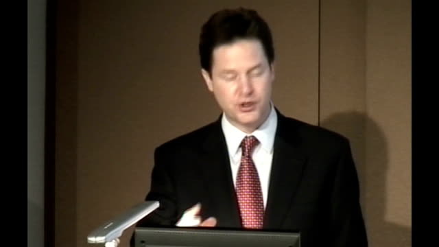 nick clegg speech at london stock exchange nick clegg speech continues sot a warning to the markets of london and elsewhere who think the solution is... - börse von london stock-videos und b-roll-filmmaterial