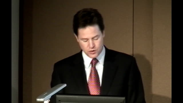 nick clegg speech at london stock exchange nick clegg speech continues sot until it has happened taxpayers will have to continue underwriting the... - börse von london stock-videos und b-roll-filmmaterial