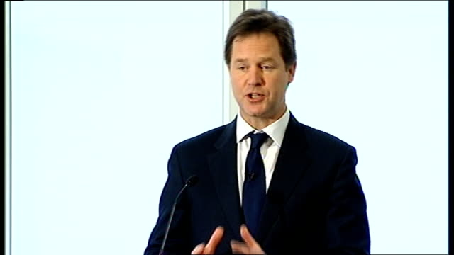 nick clegg speech on tax proposals england london institute for government photography*** nick clegg mp speech sot yesterday's gdp figures remind us... - ニック クレッグ点の映像素材/bロール