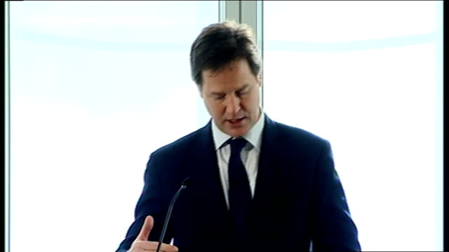 nick clegg speech on tax proposals; nick clegg speech continued sot but, in just three years, real household disposable incomes have fallen by some 5... - state of emergency stock videos & royalty-free footage