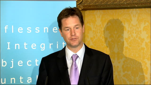 nick clegg speech to committee on standards in public life open meeting; nick clegg speech continued sot - after next spring we will establish... - no doubt stock-videos und b-roll-filmmaterial