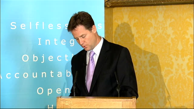 nick clegg speech to committee on standards in public life open meeting england london photography** sir christopher kelly introduces nick clegg sot... - political action committee bildbanksvideor och videomaterial från bakom kulisserna