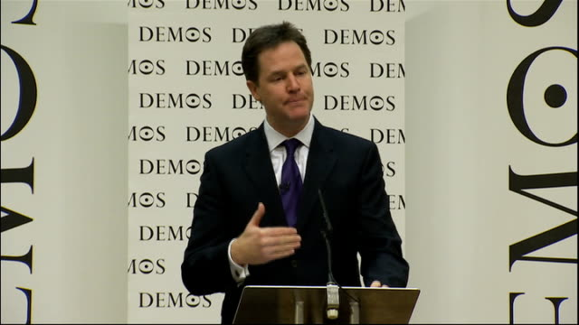 nick clegg speech to demos and the open society foundation; clegg speech sot - but first, let me demonstrate how this liberal vision of an open... - main course stock videos & royalty-free footage