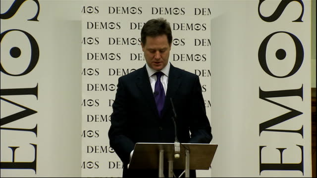 nick clegg speech to demos and the open society foundation england london westminster int nick clegg mp speech sot first let me thank demos and the... - populism stock videos and b-roll footage