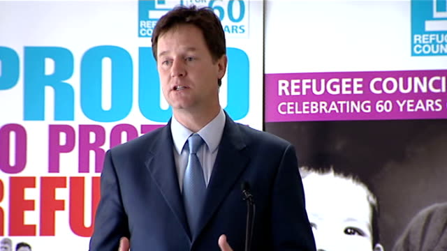 nick clegg speech to the refugee council clegg speech sot but are refugees a threat to britain of course britain like all countries has a duty to... - populism stock videos and b-roll footage