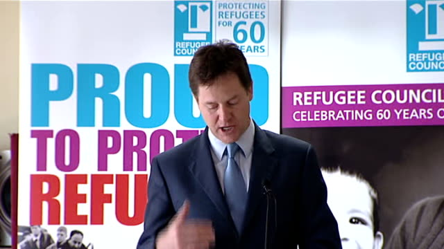 nick clegg speech to the refugee council england london brixton photography** nick clegg mp being introduced and speech sot the un convention on... - populism stock videos and b-roll footage