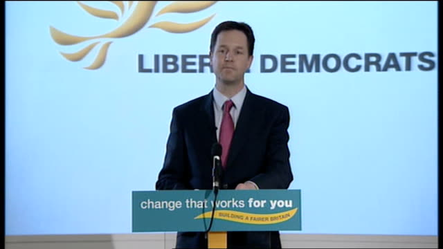 nick clegg statement on forming coalition government with the conservatives england london local government association photography*** nick clegg... - politics and government stock videos & royalty-free footage