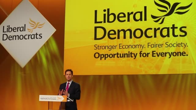 nick clegg, u.k. deputy prime minister and leader of the liberal democrats, speaks as he address delegates at the party's spring conference in... - british liberal democratic party stock videos & royalty-free footage