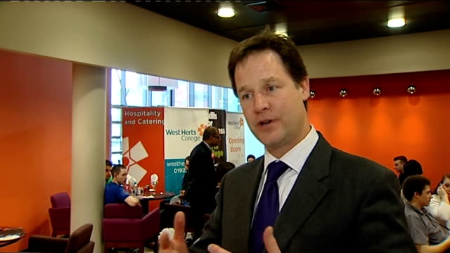 stockvideo's en b-roll-footage met nick clegg visits catering apprentices in watford england hertfordshire watford west herts college int nick clegg mp interview sot re apprenticeship... - quarter