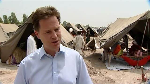 nick clegg visits flood victims in pakistan nick clegg mp interview sot a slow moving relentless disaster that gets worse and worse / flood waters... - 2010 video stock e b–roll
