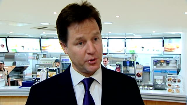 nick clegg visits mcdonalds restaurant nick clegg interview continued sot re nhs we've made considerable changes to the bill now want to see the bill... - employment issues stock videos & royalty-free footage