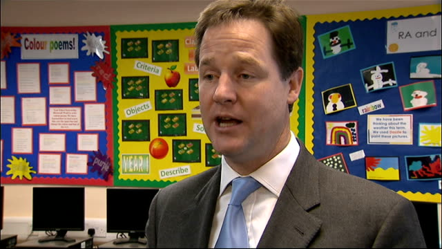 vidéos et rushes de nick clegg visits peterbrook primary school; england: west midlands: solihull: peterbrook primary school: int nick clegg mp interview sot -... - prime minister