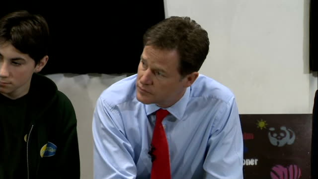 nick clegg visits st andrew's youth club; clegg and mcvey question and answer session with students at st andrew's youth club sot - youth club stock videos & royalty-free footage