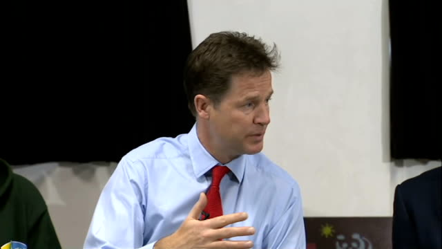 nick clegg visits st andrew's youth club england london westminster st andrew's youth club int nick clegg mp arrives in room nick clegg mp speaking... - youth club stock videos & royalty-free footage