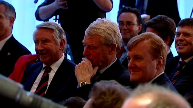 nick clegg wins leadership of liberal democrat party lord steel sitting alongside lord ashdown and charles kennedy mp sir menzies campbell mp /... - charles kennedy stock videos & royalty-free footage