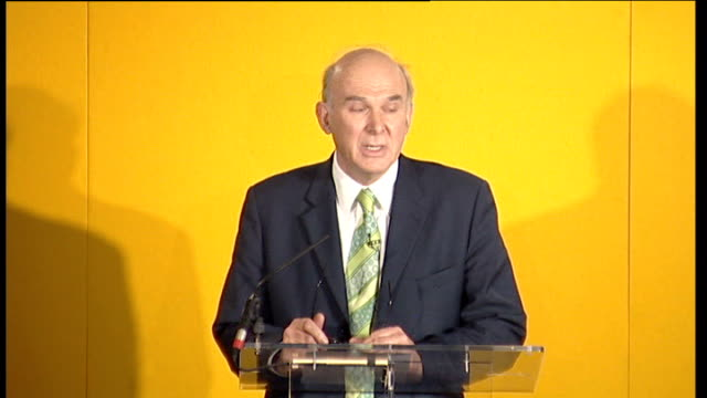 nick clegg wins leadership of liberal democrat party: press conference; vince cable mp to podium and speaking sot - talks about leadership of a... - vince cable stock videos & royalty-free footage
