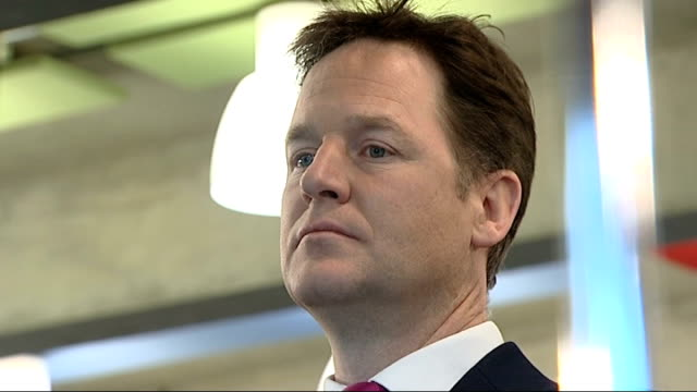 nick clegg's lib dem leadership tested over lord rennard issue london southbank centre int close shot clegg's face clegg listening at event clegg... - クリス・レナード点の映像素材/bロール
