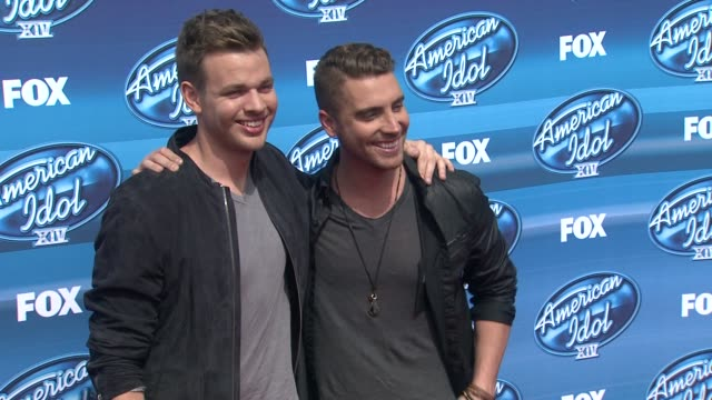 """nick fradiani and clark beckham at the """"american idol"""" xiv grand finale - arrivals at dolby theatre on may 13, 2015 in hollywood, california. - the dolby theatre stock videos & royalty-free footage"""